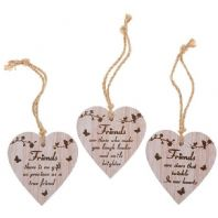 HEART SHAPED WOODEN FRIENDSHIP SENTIMENTS HANGING SIGN GREAT GIFT FOR FRIENDS